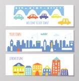 Sztandar z ślicznymi miasta i miasteczka elementami, śmieszny projekt, graficzna ilustracja royalty ilustracja