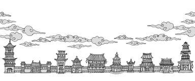 Sztandar z azjatykcim miasteczkiem Ilustracja Wektor