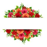 Sztandar z czerwonymi i pomarańczowymi różami również zwrócić corel ilustracji wektora royalty ilustracja