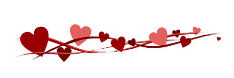 Sztandar z czerwonymi sercami ilustracja wektor