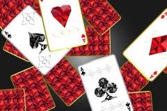 Sztandar z cztery as, odmianowym kontur i kostiumy W tle, czerwonej kartki pokrywa z odmianowym ornamentem Wektorowy illuctr royalty ilustracja