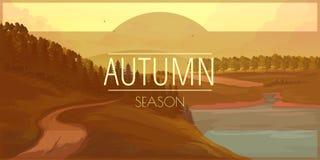 Sztandar z jesień krajobrazem Obraz Stock