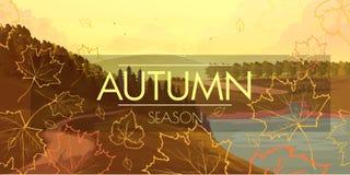 Sztandar z jesień krajobrazem Fotografia Royalty Free