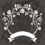 Sztandar z kwiatami i winogradami ilustracji