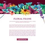 Sztandar z kwiecistym wystrojem Kwadratowa ulotka z miejscem dla twój teksta Górna rama z kwiatami, liśćmi, gałązkami i roślinami ilustracji
