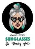 Sztandar z moda okularami przeciwsłonecznymi i dziewczyną nAdvertising nową kolekcję szkła dla online sklepu lub socjalny sieci ilustracji