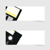 Sztandar z opadającego dyska ikony ilustracją na popielatym Zdjęcia Stock