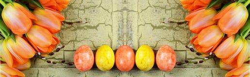 Sztandar z pomarańczowymi tulipanami i żółtymi Easter jajkami zdjęcia royalty free