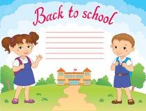 Sztandar z powrotem szkoły chłopiec dziewczyny ucznia literowania loga wektor Obrazy Stock