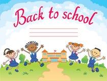 Sztandar z powrotem szkoły chłopiec dziewczyny ucznia literowania loga wektor Obraz Royalty Free