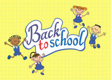 Sztandar z powrotem szkoły chłopiec dziewczyny ucznia literowania loga wektor Obraz Stock