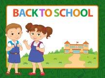 Sztandar z powrotem szkoły chłopiec dziewczyny ucznia literowania loga wektor Fotografia Royalty Free