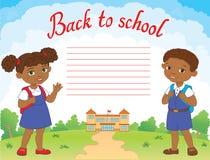 Sztandar z powrotem szkoły chłopiec dziewczyny ucznia literowania loga wektor Zdjęcia Royalty Free