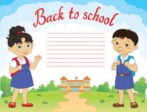 Sztandar z powrotem szkoły chłopiec dziewczyny ucznia literowania loga wektor Obrazy Royalty Free