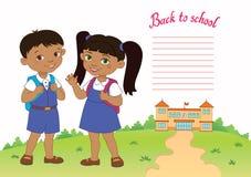 Sztandar z powrotem szkoły chłopiec dziewczyny ucznia literowania loga wektor Fotografia Stock