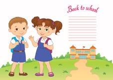 Sztandar z powrotem szkoły chłopiec dziewczyny ucznia literowania loga wektor Zdjęcia Stock