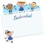 Sztandar z powrotem szkoły chłopiec dziewczyny ucznia literowania loga wektor Zdjęcie Royalty Free