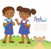 Sztandar z powrotem szkoły chłopiec dziewczyny ucznia literowania loga wektor Zdjęcie Stock