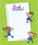 Sztandar z powrotem szkoły chłopiec dziewczyny ucznia literowania logo Fotografia Stock