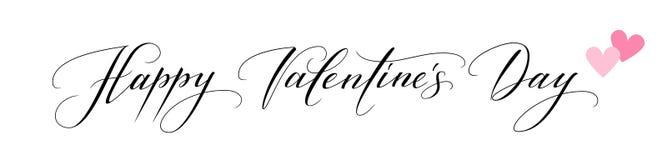 Sztandar z Szczęśliwym walentynka dnia tekstem i serce symbolami ilustracji