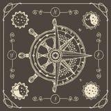 Sztandar z wiatrem wzrastał, stary kompas i statku koło royalty ilustracja