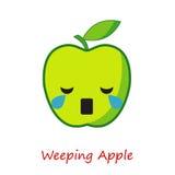 Sztandaru Apple emocje Śliczna kreskówki zieleń Apple Obraz Stock