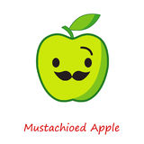 Sztandaru Apple emocje Śliczna kreskówki zieleń Apple Zdjęcia Stock
