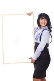 sztandaru biznesowa rozochocona mienia kobieta Zdjęcia Stock