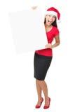 sztandaru biznesowa target1252_1_ Santa szyldowa kobieta zdjęcia stock
