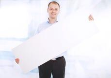 sztandaru biznesowego mężczyzna teraźniejszość target1275_0_ biel Fotografia Stock
