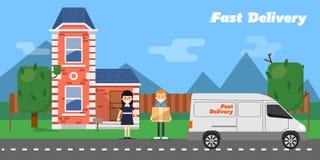 sztandaru dostawy post Handlowy pojazd Obraz Stock