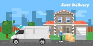 sztandaru dostawy post Handlowy pojazd Fotografia Royalty Free