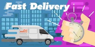 sztandaru dostawy post Handlowy pojazd Zdjęcie Royalty Free