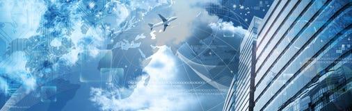 sztandaru drapacz chmur biznesowy futurystyczny Zdjęcie Stock
