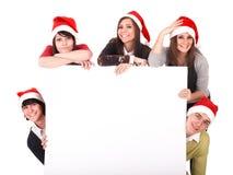 sztandaru grupowi szczęśliwi kapeluszowi ludzie Santa whith Zdjęcie Royalty Free