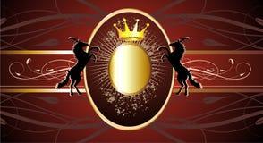 sztandaru korony złocisty koni czerwieni wektor Fotografia Royalty Free