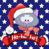 sztandaru kota bożych narodzeń miejsca Santa tekst twój Zdjęcia Royalty Free