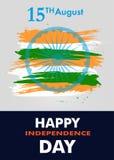 Sztandaru lub plakata Indiański dzień niepodległości z Ashoka koła 15 th august kolory flaga państowowa wektor Obrazy Stock