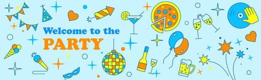 Sztandaru lub szablonu projekt dla musicalu przyjęcia świętowania ilustracja wektor
