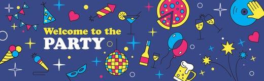 Sztandaru lub szablonu projekt dla musicalu przyjęcia świętowania royalty ilustracja