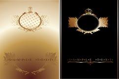 sztandaru ozdobny czarny złocisty Zdjęcia Royalty Free
