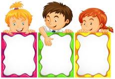 Sztandaru projekt z ślicznymi dzieciakami ilustracja wektor