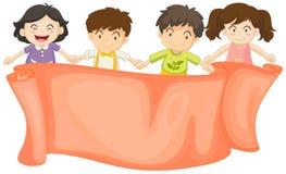 Sztandaru projekt z chłopiec i dziewczynami royalty ilustracja