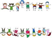 sztandaru pustego miejsca grupy dzieciaków znak ilustracja wektor