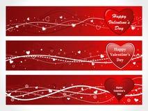 sztandaru serca trzy valentine Zdjęcia Stock