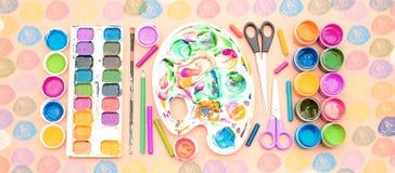 Sztandaru A set materiały dla twórczości i rysunkowych hobby Obraz Stock