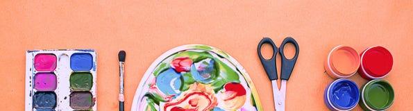 Sztandaru A set materiały dla twórczości i rysunkowych hobby Obrazy Stock