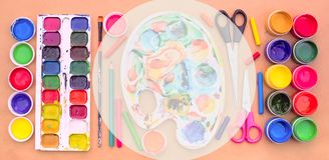 Sztandaru A set materiały dla twórczości i rysunkowych hobby Obrazy Royalty Free