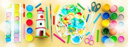 Sztandaru A set materiały dla twórczości i rysunkowych hobby Zdjęcie Royalty Free
