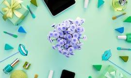 Sztandaru skład set kobiety ` s akcesoria, kosmetyczny rzecz prezenta koktajl Zdjęcie Stock